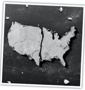 A shattered, black-and-white photo of the American map.