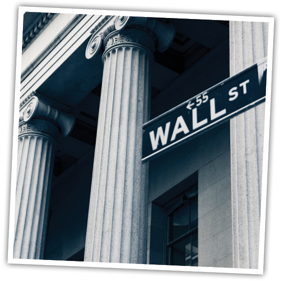 Black and White photo of Wall Street.