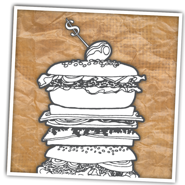 Illustration of a deli sandwich with a dollar sign toothpick.