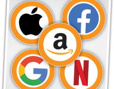 Floating logos of the Big Tech giants.