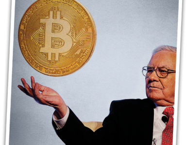 Warren Buffet with a floating bitcoin.