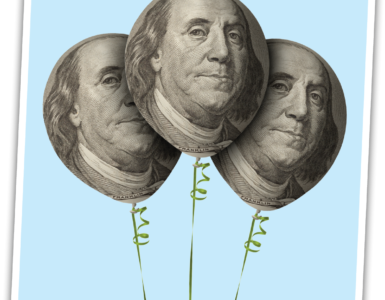 Balloons with Benjamin Franklin bills.