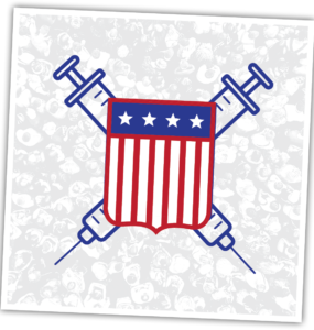 An American badge with vaccine shots.