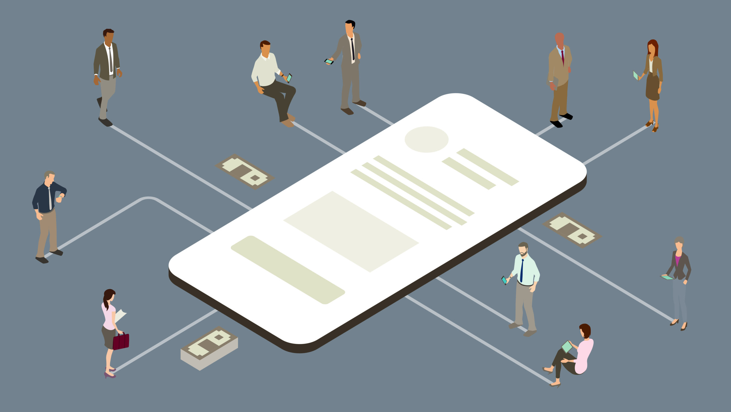 Illustration of an oversized, generic mobile phone connected to business people with some money icons — to communicate the concepts of business and finance. Vector illustration presented in isometric view on a gray-blue background.